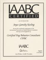 IAABC Certified Certificate Good Through Jan 2015