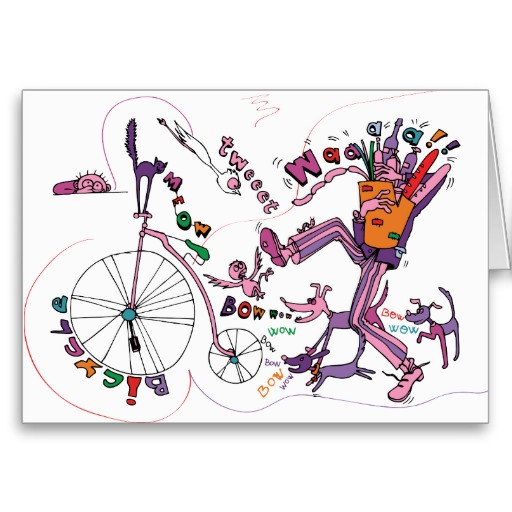 bicycle_penny_farthing_cycling_dog_cat_bird_card
